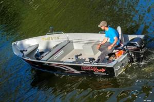 Bootvermietung: Großes 5,1m Aluminium Boot mit 20 PS und Echolot für Angler in Schweden an den Seen Bunn und Ören.