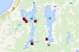 Karte vom Seensystem Bunn - Ören und unseren Ferienhäusern Nahe Gränna in Schweden