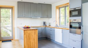 The kitchen of our cottage has a dishwasher and everything you might need when cooking.