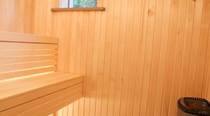 The modern sauna in our cottage in Sweden.
