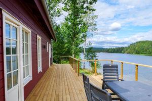 Unser Ferienhaus Viken am See Bunn mit Boot bietet einen fantastischen Seeblick.
