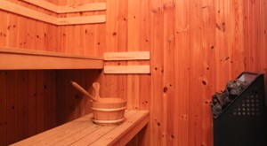 The sauna of our cottage at lake Bunn.