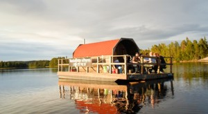 The floating lake sauna of our cottages in Sweden at lake Bunn.